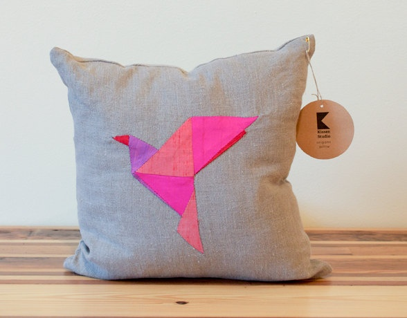 Red Bird Origami Patchwork Pillow - Silk and Linen Pillow Cover - 14 Inches - Made to Order. $55.00, via Etsy.