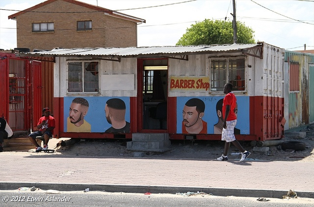 South African Barber Shop...Mike's Barber Shop in the Delft township, outside of Cape Town, South Africa...by Etwin1, via Flickr