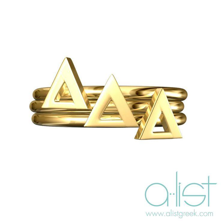 Tri Delta Stack Ring