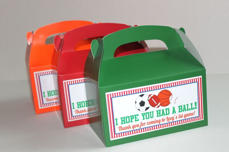 Sports party favor box (6) goodie bag, gable box, party favor, candy box, - party supplies football basketball baseball soccer by OneFineParty on Etsy https://www.etsy.com/listing/226101158/sports-party-favor-box-6-goodie-bag