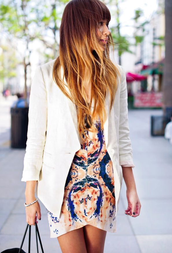 Sincerely, Jules: Hair Ideas, Summer Dresses, Prints Dresses, Hair Colors, White Blazers, Ombre Hair, Blazers Dresses, Bright Dresses, Colors Hair