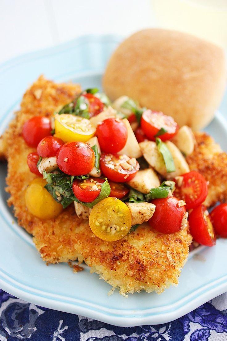 Crispy Parmesan Chicken Cutlets with Tomato-Mozzarella Salad