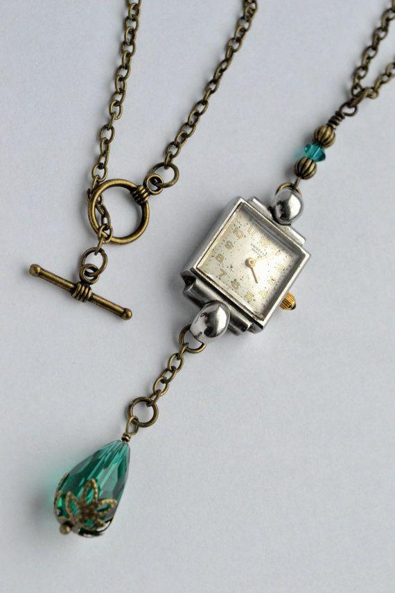 SteamPunk Art Deco Silver Watch Face Pendant Drop by ShesCrafty121, $27.00