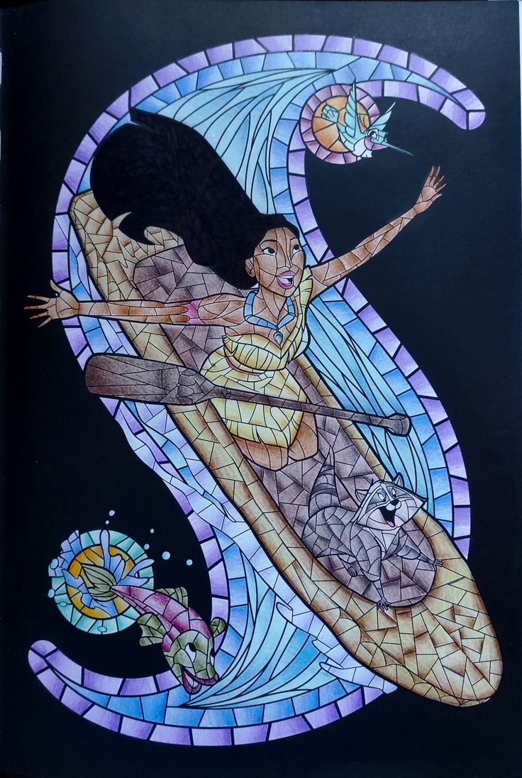 Pocahontas coloriage vitraux Disney en 15  Vitrail disney
