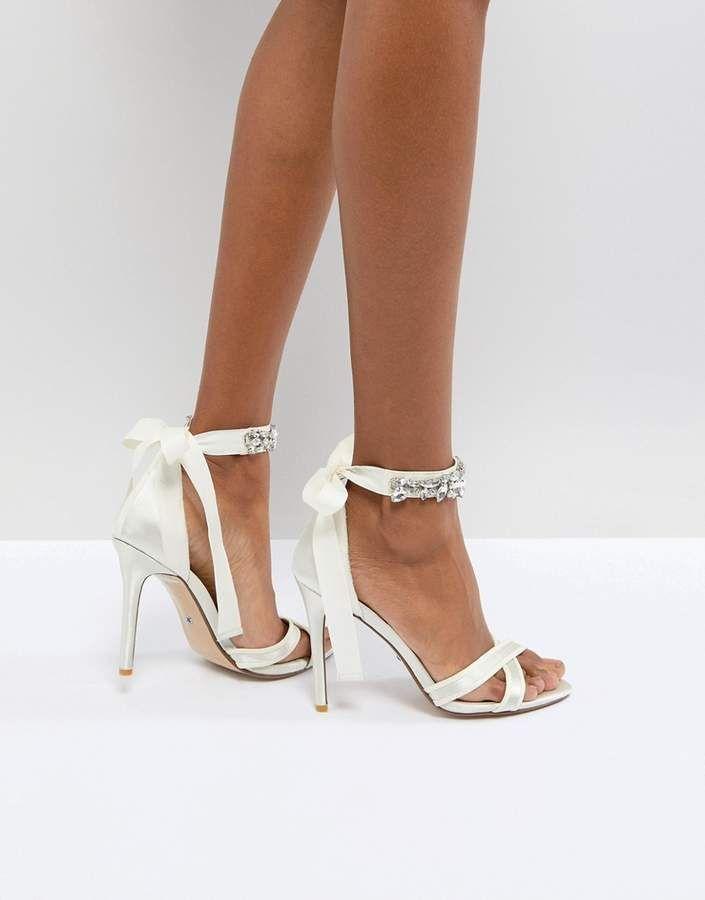 Dune Bridal Dune London Bridal Morgen Heeled Sandal with Gem Ankle Tie