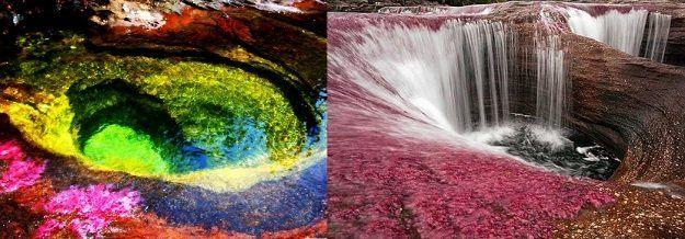 A szivárvány folyó! - Kolumbia  Ez a kolumbiai folyót a helyiek csak úgy emlegetik, hogy az öt színű folyó. Ez a folyékony szivárvány egyedülálló a maga nemében és az egyik leglenyűgözőbb természeti jelenség amit az anyatermészet valaha alkotott.
