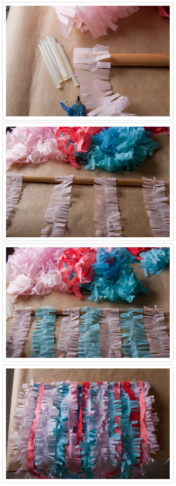 Streamer Backdrop...I wouldn't cut them like these due to possibility of ripping while transporting/hanging