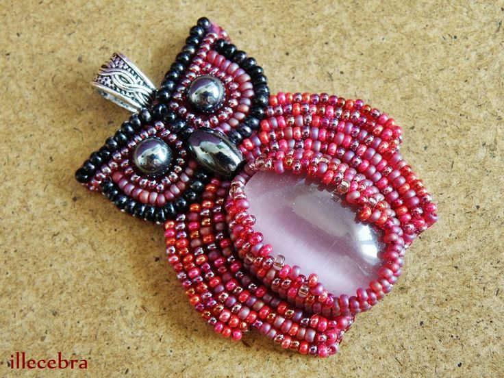 Her name is Pauline. #owl #beadwork #beadembroidery #illecebra