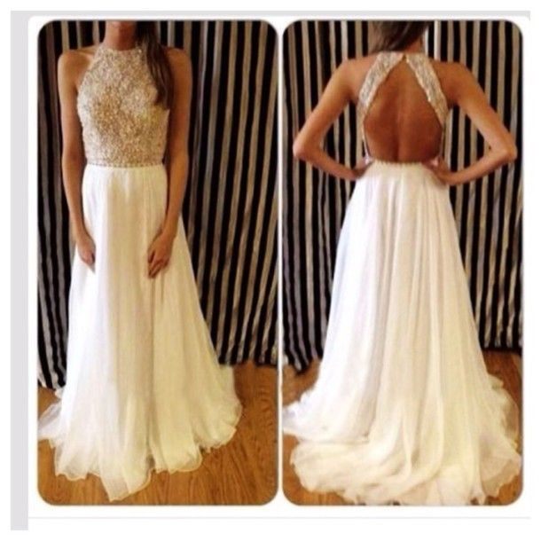 DIYouth Elegant High Neck Prom Dress Sale Women Open Back Evening Gowns with Beads and Crystals
