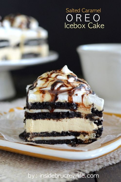Layers of salted caramel cheesecake and Oreo cookies