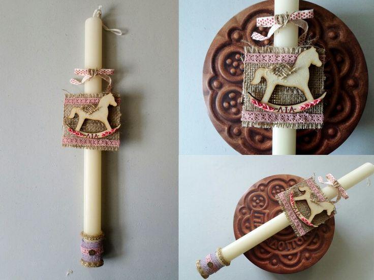 Personalized easter candle, fimo miniature clay wood horse