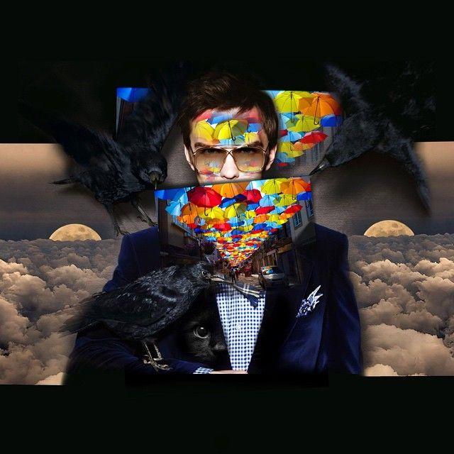 """Вороны и зонтики"". #инзижен #inzigen #art #myart #instaart #коллаж #творчество #хобби #hobby #create #creator #абстракция #вороны #ворона #кот #зонт #зонты #луна #небо #облака #fashion #мода"