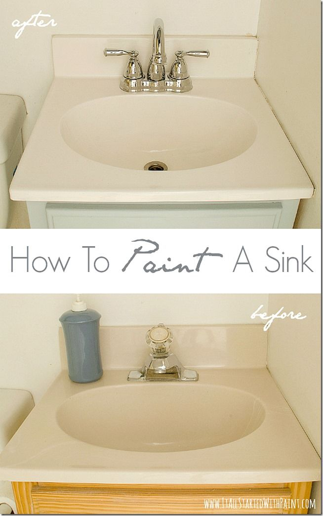 "How-To-Paint-A-Sink-Before-and-After.  Pinner used ""Tough as Tile"" epoxy paint from Ace Hardware.  First she cleaned with CLR and sanded with steel wool. She repeated this 3 times.  Then she brushed on the epoxy paint, let it dry, sanded, then repainted. Very good link shows photos and has good instructions."