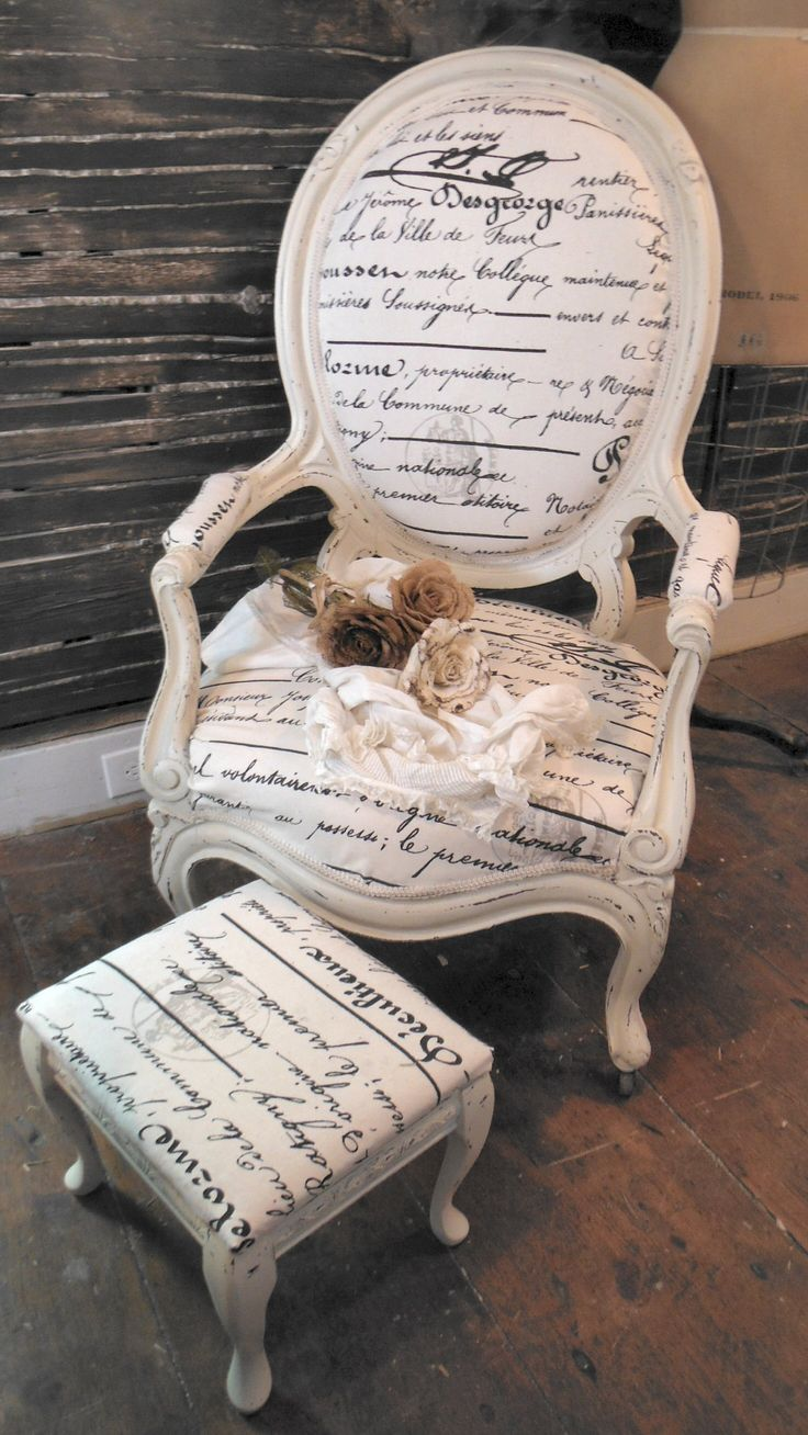 Antique Parlor Chair Makeover by Zoey's. Painted, aged, distressed & reupholstered in French script textile.  See more of us on Facebook here... https://www.facebook.com/pages/Zoeys-Uber-Chic-Loft/539668809406426