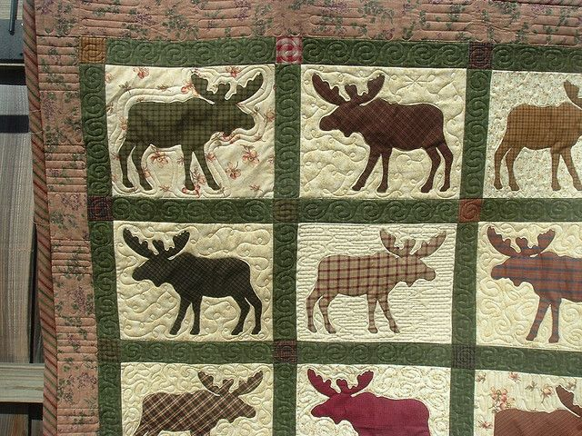 moose quilt.  I love the border quilting on this one.