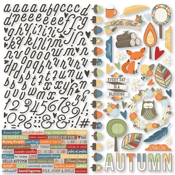 Simple Stories Hello Fall - Combo Cardstock Stickers