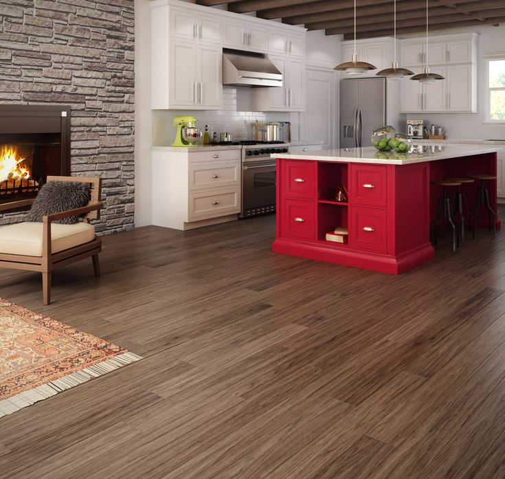 Planchers de bois franc Preverco - Cuisine champ�tre revisit�e � Hickory, texture wave, couleur tofino