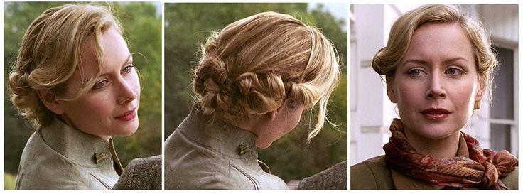 "Megan Dodds in Poirot (""The Hollow""). I love this late 30s, early 40s hairstyle! She had it ""pinned"" up with tortoiseshell-type large decorative pins, but she also had individual curls pinned, which was really pretty."