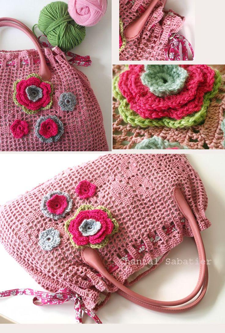 sac crochet fleurs chantal sabatier