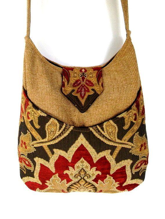Bohemian Gypsy Bag Gold and Red Messenger Bag  large bag renaissance bag messenger bag medieval bag