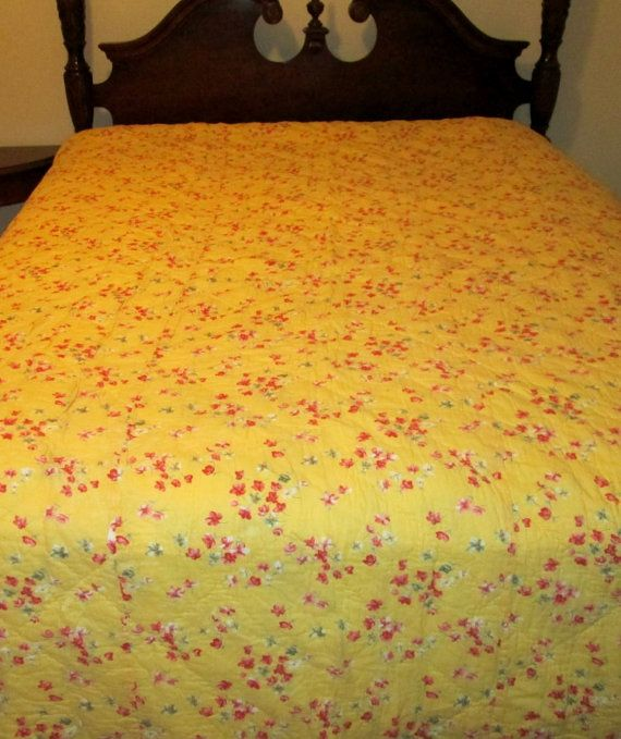 items similar to bright and beautiful vintage april cornell quilt comforter with yellow background and red and pink flowers on etsy