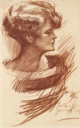 'Zelda Fitzgerald' - 1927 - by Harrison Fisher  Sanguine conté crayon on paperboard - National Portrait Gallery, Smithsonian Institution