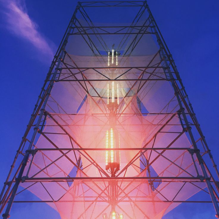 NorthSide 2016, Aarhus, Denmark - 12 meters high scaffold light tower installation. Designed by Thomas Lillevang, Søren Arnholt and Emil Rasborg. Light supplied by MARTIN Light