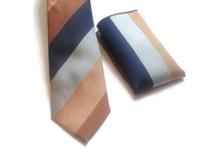 Conjunto corbata y pañuelo colores tierra, wedding ties, corbata nudo, corbatas para hombre, regalos dia padre, regalos boda, corbata rayas