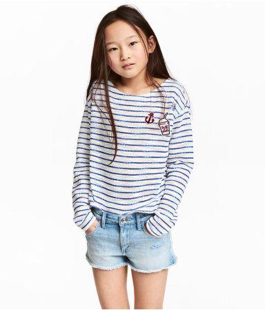 Løst strikket top | Blå/Hvidstribet | Børn | H&M DK