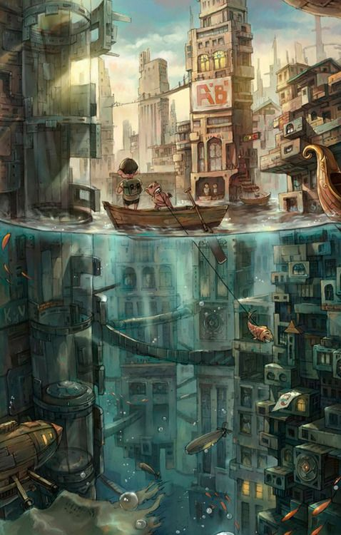 Semi underwater city