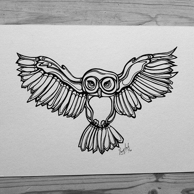 """Owl"" by hurupmunch Printed illustration on akvarel paper A4: Dkk 150,-"