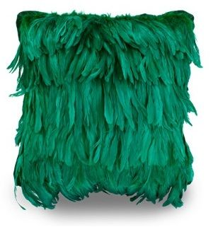Hand-painted plumes aren't limited to fashion. Pair this fluffy pillow ($445) with an equally over-the-top piece, like that fainting sofa you've been coveting.