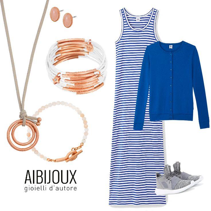 Collane, orecchini e bracciali SENCE Copenhagen, abito e golfino Petit Bateau, scarpe Adidas #AIBIJOUX #sencecopenhagen #outfits #fashionjewelry #ilnostrooutfit #Adidas #PetitBateau