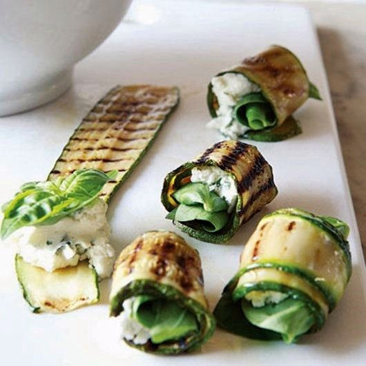grilled zucchini roll-ups with basil and goat cheese.