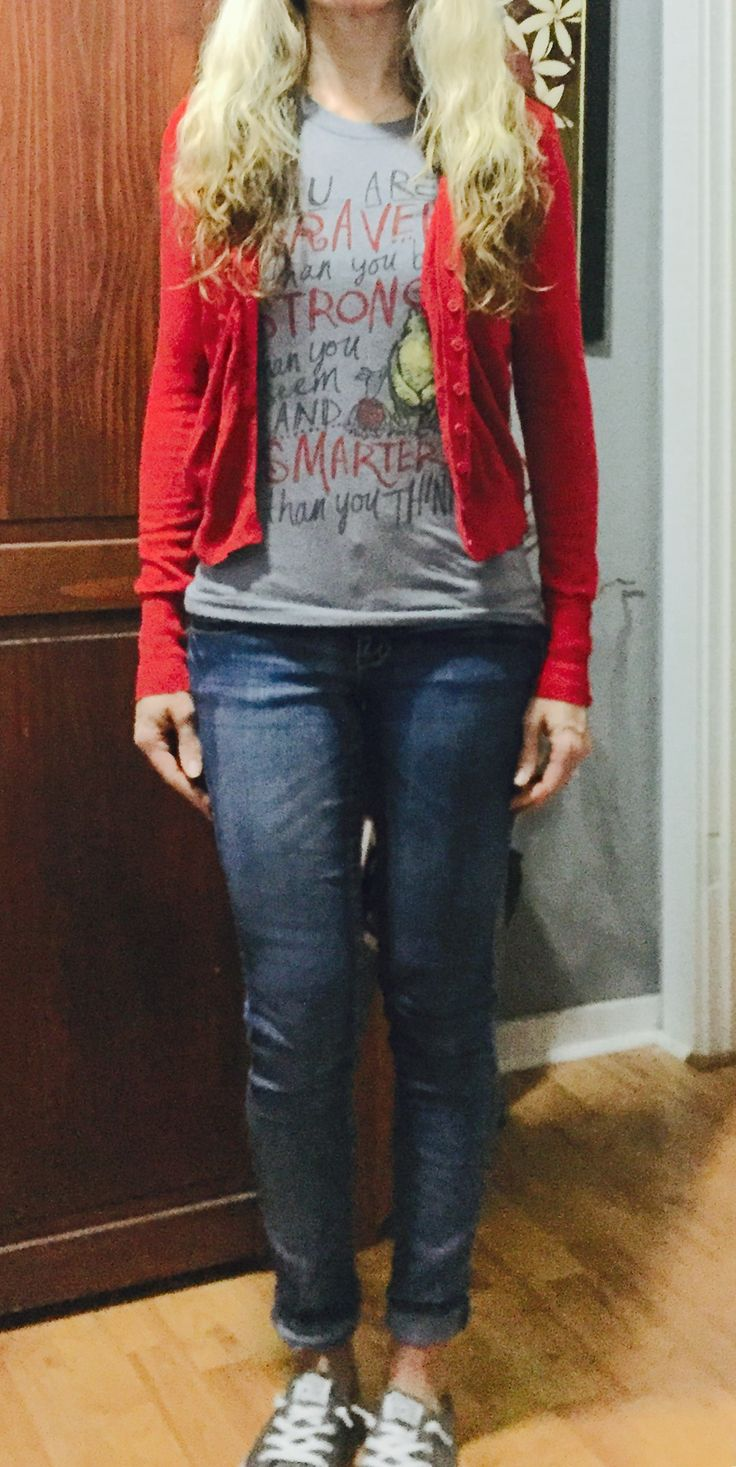 Winnie the Pooh braver than you think tshirt, red cardigan, grey converse outfit