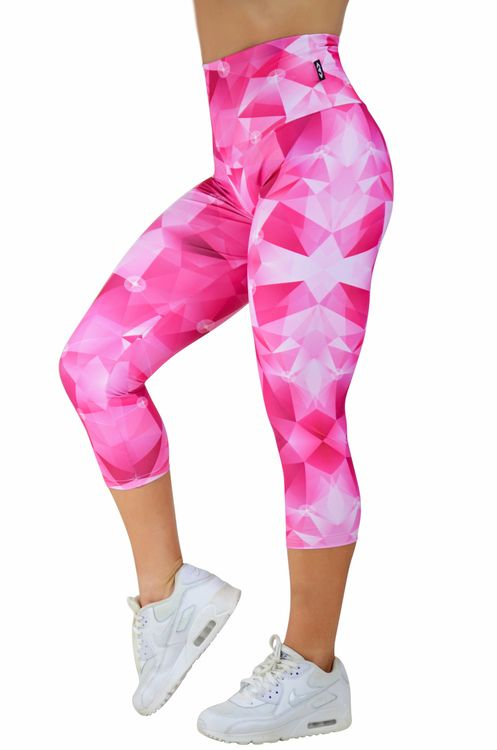 Body Contouring High Waisted Capri Leggings - 'Too Cute' Pink Geo Made to measure Capris now available at www.exoticahtletica.com.au