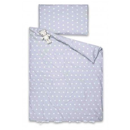 """Komplet Pościeli 200x140cm """"Silver & White Stars"""" (Poszewka + Poszwa). Poszwa zamykana jest na elegancką zakładkę i bawełniane białe troczki. Poszewka na zakładkę."""