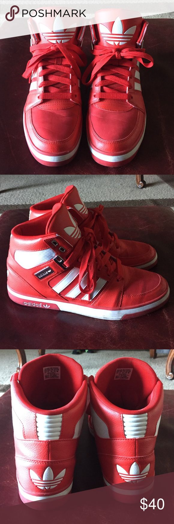 Men's Adidas Originals Hard Court Hi II Shoes Size 9.5 men's. Red, white and silver hi tops. Preowned. Puma Shoes Sneakers