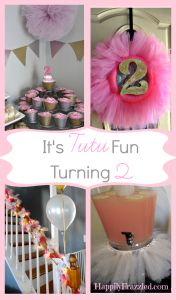 A tutu fun tutu party, fit for a two year old! A glimpse into all the decor and fun for our little girls second birthday! Tulle pom poms, garland, tutus, cupcakes, and glitter galore.