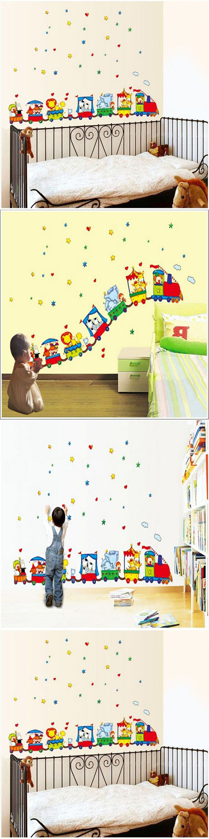Unique detachable side rail with dear kids letter idea feat cool - Animal Circus Train Children Diy Removable Wall Stickers Parlor Kids Bedroom Home House Decoration
