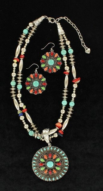 (MFW30664) Western Multi-Colored Beaded Round Pendant Necklace and Earrings
