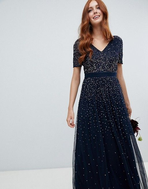 maya v neck maxi tulle dress with contrast tonal delicate sequins in