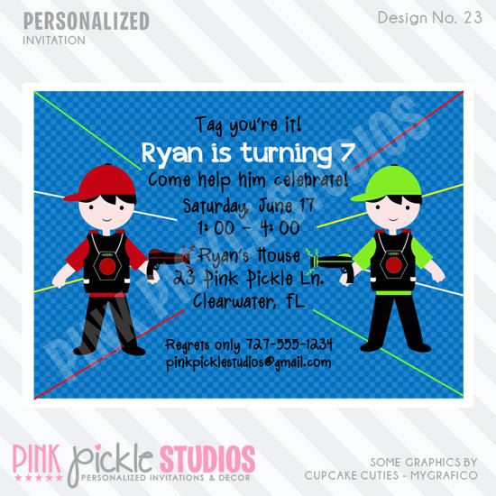 Laser Tag Invitation or Thank You Card by PinkPickleParties, $10.00