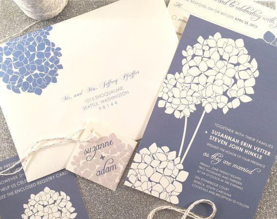 Hydrangea Wedding Invitation Suite Sample Silver by vohandmade