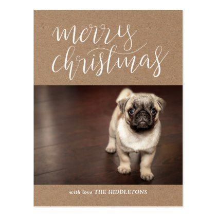 Brown Kraft Paper Merry Christmas Script | Photo Postcard - merry christmas postcards postal family xmas card holidays diy personalize