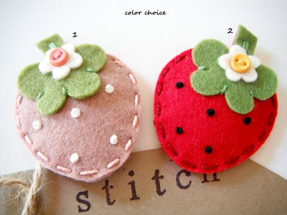 Felt hair clip Strawberry by Miki by MikiStitch on Etsy