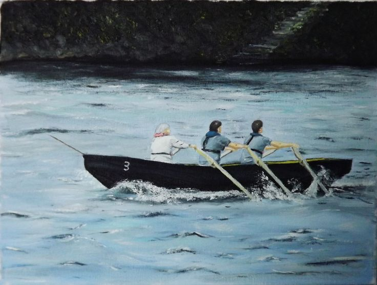 "The Currach Race Oil on Canvas  12 X 16  Painted from a photo taking at the Riverfest In Limerick this year,   A currach (Irish: curach) is a traditional Irish boat with a wooden frame, over which animal skins or hides were once stretched, though now canvas is more usual. It is sometimes anglicised as ""Curragh"". The construction and design of the currach are unique to the west coasts of Ireland and Scotland, with variations in size and shape by region."