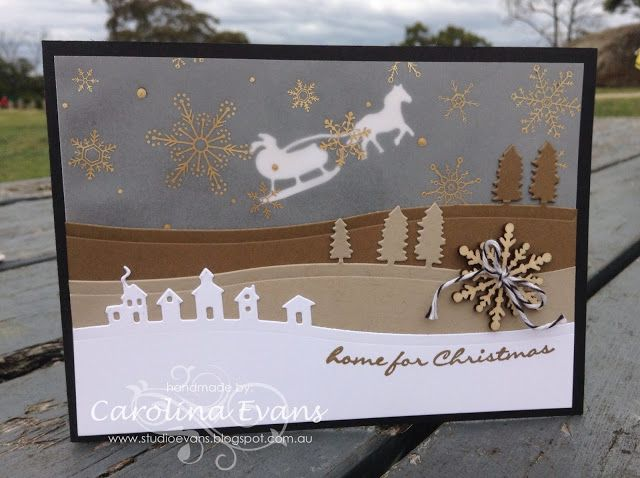 NEW! Jingle All the Way with Sleigh Ride Edgelit Dies in neutral shades for #JAI274 using new products. Carolina Evans 2015 Stampin' Up!