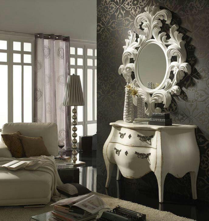 Espejo neoclásico blanco envejecido lo encuentras en www.lovegallery.es