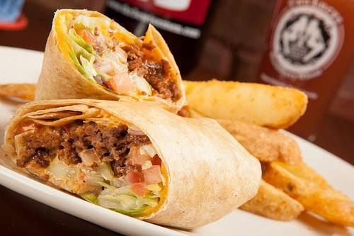 Try our Mc' Mo' Fo' Mustard Burger Wrap for dinner. Ground beef, cheddar cheese, lettuce, tomatoes, red onion, pickle and mo'fo''mustard.